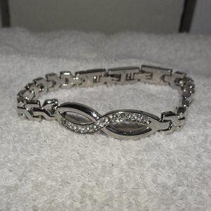Silver Tone Eternity Knot Rhinestone Bracelet